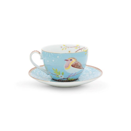 Cappuccino Cup & Saucer Early Bird Blue Vorne