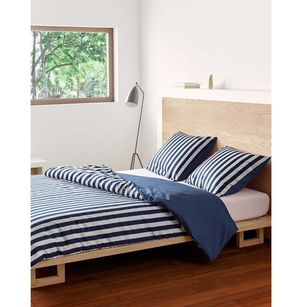 marc o 39 polo bettw sche classic stripe indigo blue 155x220 cm bett und so. Black Bedroom Furniture Sets. Home Design Ideas